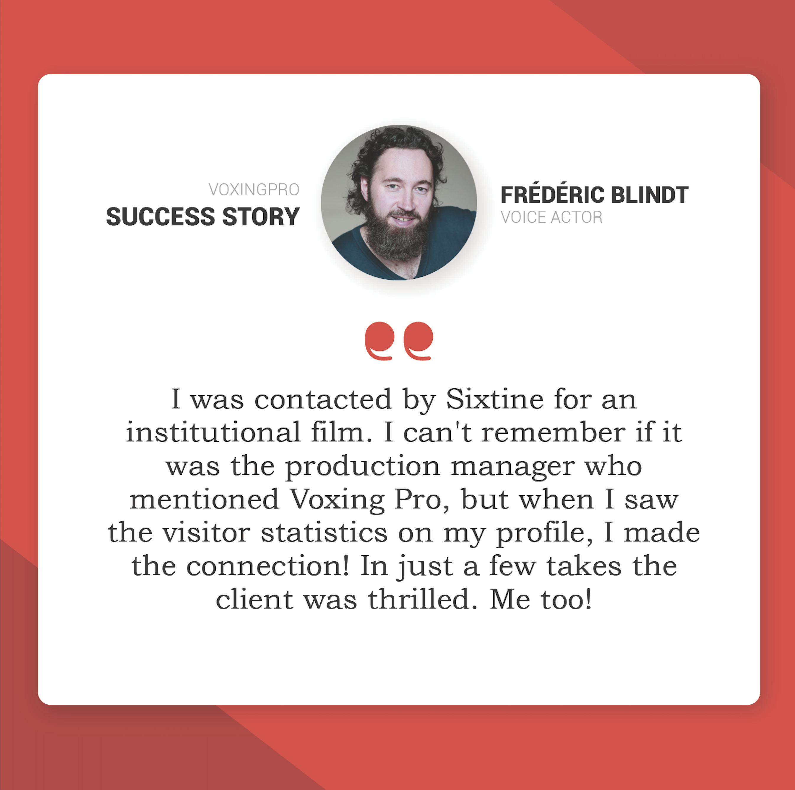 frédéric blindt success story EN